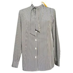 Uniqlo Striped Pussy Bow Neck Blouse Shirt